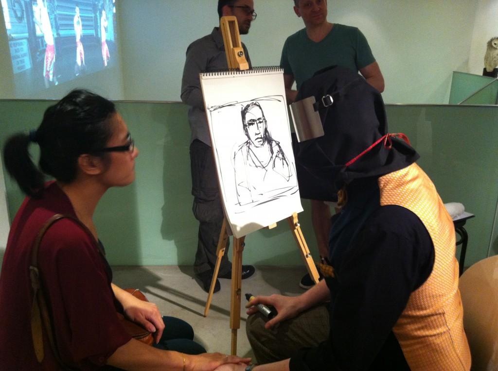 Stuart Palm drawing me blindfolded